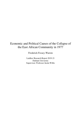 Economic and Political Causes of the Collapse of the East African Community in 1977
