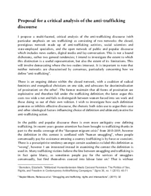 A critical analysis of anti-trafficking discourse