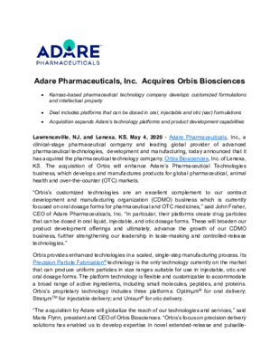 Media Release_Adare Aquires Orbis Biosciences