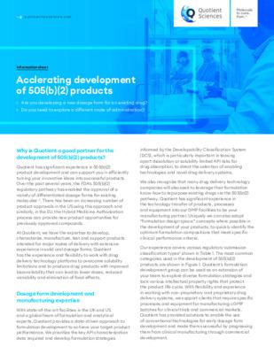 Quotient Sciences - Accelerating development of 505(b)(2) products - Digital Infosheet