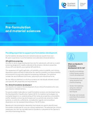 Quotient Sciences - Pre-formulation and Material Sciences - Digital Infosheet