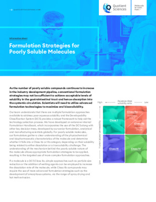 Quotient Sciences - Formulation Strategies for Poorly Soluble Molecules - Digital Infosheet