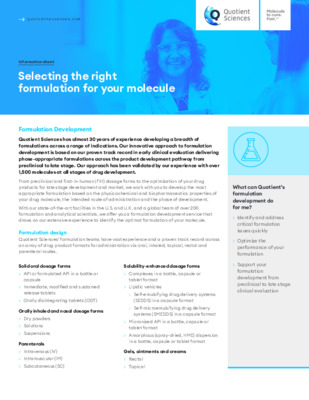 Quotient Sciences - Formulation Development - Selecting the right formulation for your molecule - Digital Infosheet
