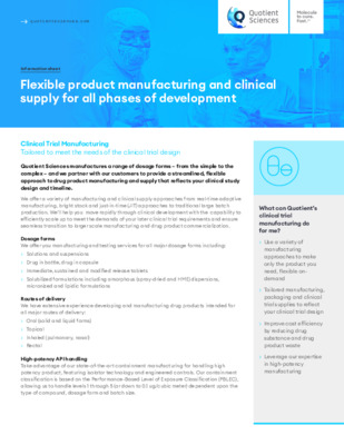 Quotient Sciences - Clinical Trial Manufacturing - Flexible product Manufacturing and clinical supply for all phases of development - Digital Infosheet