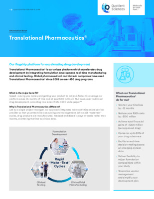 Quotient Sciences - Translational Pharmaceutics® - Digital Infosheet