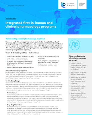 Quotient Sciences - Clinical Pharmacology - Integrated first-in-human and clinical pharmacology programs - Digital Infosheet