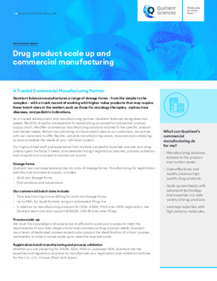 Quotient Sciences - Commercial Manufacturing - Drug product scale up and commercial manufacturing- Digital Infosheet
