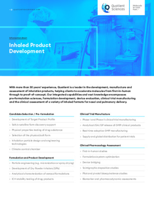 Quotient Sciences - Inhaled Product Development - Digital Info Sheet