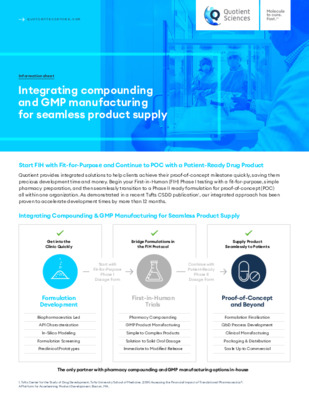 Quotient Sciences - Integrated Pharmacy Compounding GMP manufacturing for seamless product supply - Digital Infosheet