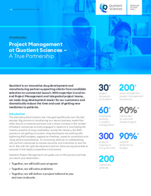 Quotient Sciences - Project Management at quotient sciences; A True Partnership - Digital Infosheet