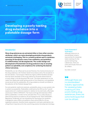 Quotient Sciences - Taste Masking -  Developing a poorly tasting drug substance into a palatable dosage form - Digital Infosheet