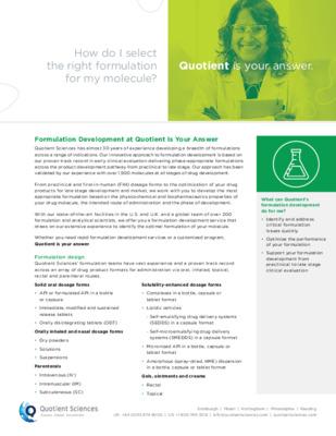 Formulation Development Fact Sheet