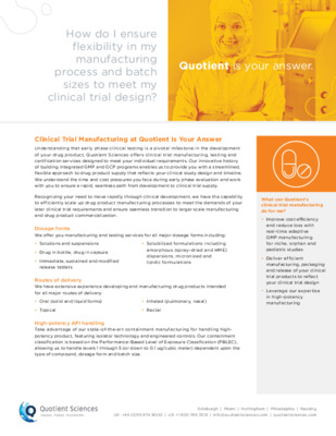 Clinical Trial Manufacturing Fact Sheet