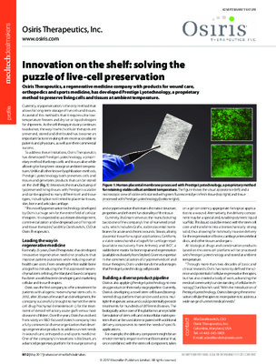Innovation on the shelf: solving the puzzle of live-cell preservation