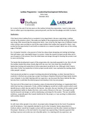 Laidlaw Final Reflections