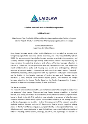 Laidlaw report on 6-week research project
