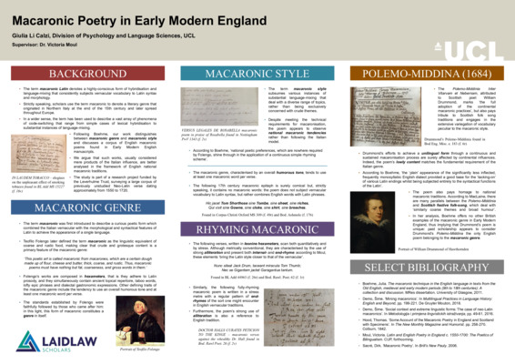 Macaronic Poetry in Early Modern England