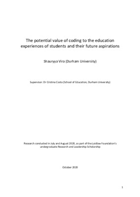 The potential value of coding to the education experiences of students and their future aspirations