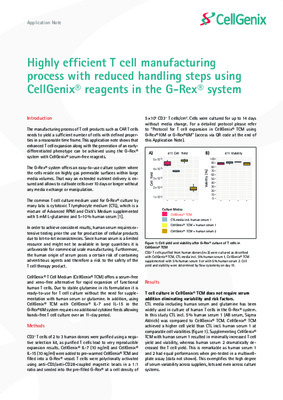 Highly efficient T cell manufacturing process with reduced handling steps using CellGenix® reagents in the G-Rex® system