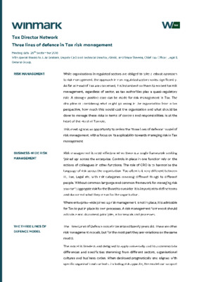 Three lines of defence in Tax risk management