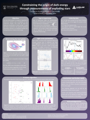 Summer 1 Poster: Constraining the origin of dark energy through measurements of exploding stars