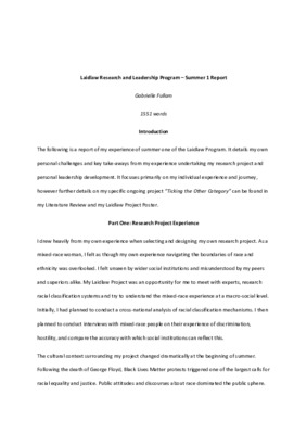 Summer Report 1 - Gabrielle Fullam