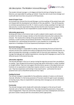 The modern intranet manager job description