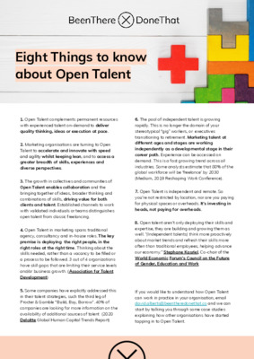 Eight Things To Know About Open Talent
