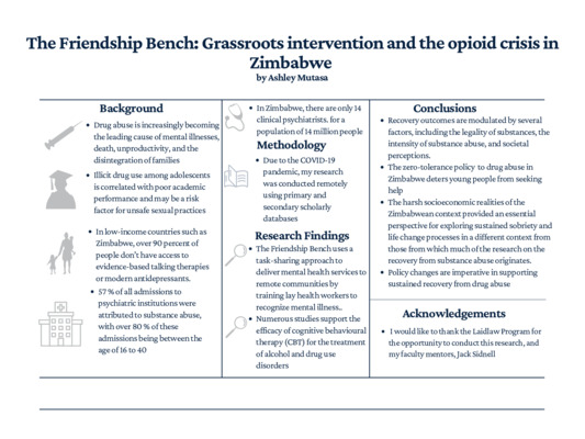 The Friendship Bench Grassroots intervention and the opioid crisis in Zimbabwe