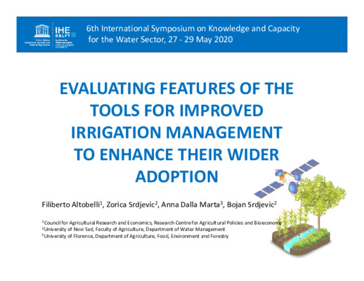 EVALUATING FEATURES OF THE TOOLS FOR IMPROVED IRRIGATION MANAGEMENT TO ENHANCE THEIR WIDER ADOPTION