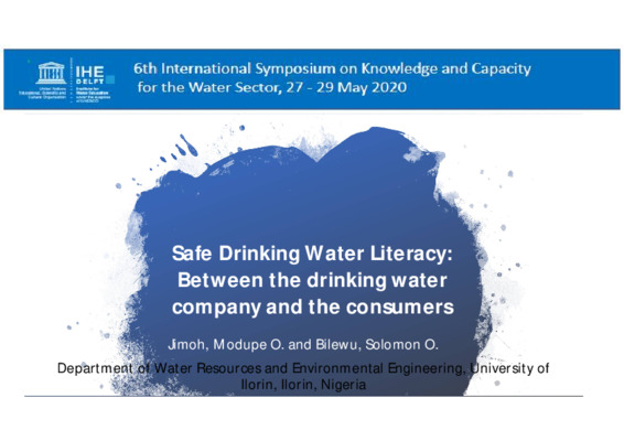 Safe Drinking Water Literacy-Between the drinking water company and the consumers