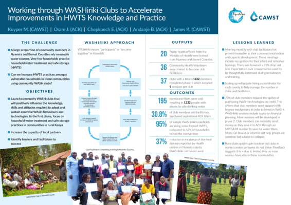 ACK-Working through WASHiriki Clubs to accelerate improvements in HWTS knowledge and practice