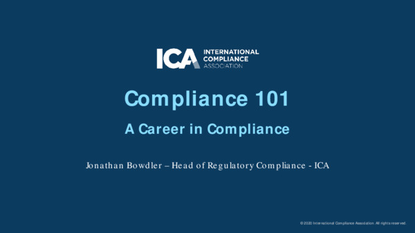 Compliance 101: A Career in Compliance