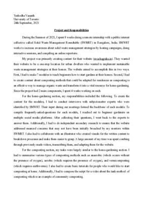 Laidlaw Internship Summary
