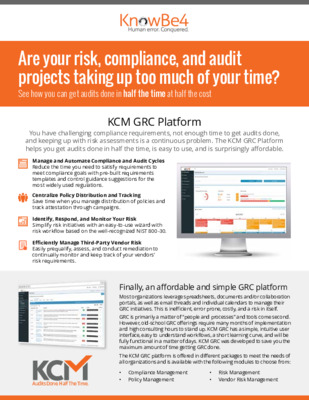 KCM GRC Platform: Get audits done in half the time at half the cost