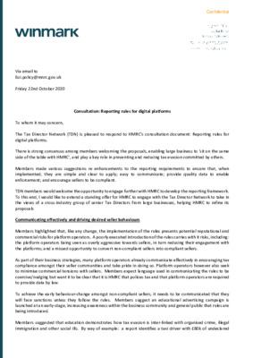HMRC Consultation - Reporting Rules for Digital Platforms