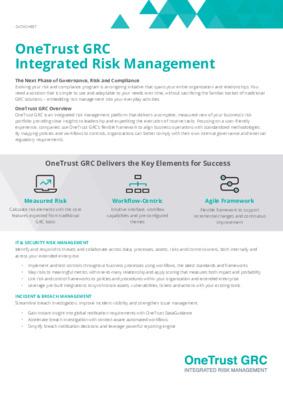 OneTrust GRC integrated risk management