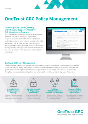 OneTrust GRC policy management