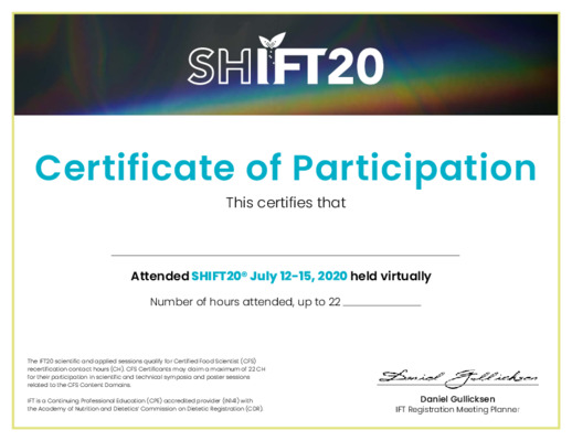 SHIFT20 Certificate of Participation
