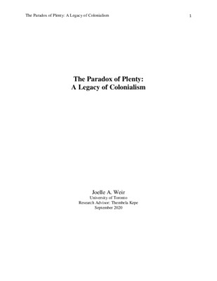 The Paradox of Plenty: A Legacy of Colonialism