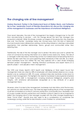 The changing role of line management - By Catherine de la Poer