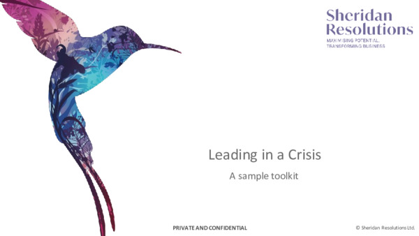 Leading in a crisis: a sample toolkit
