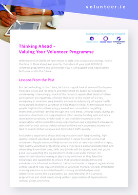 Thinking Ahead: Valuing Your Volunteer Programme