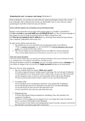 Replanting the seed (Acceptance and change)  (Worksheet 3)
