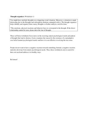 Thought organizer (Worksheet 1)