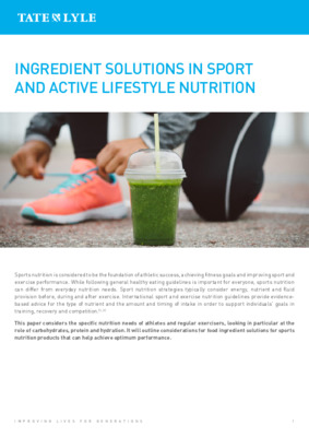 Nutrition - Ingredient Solutions in Sport and Active Lifestyle