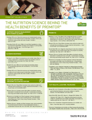 Nutrition - The Nutrition Science Behind the Health Benefits of PROMITOR® Soluble Fiber
