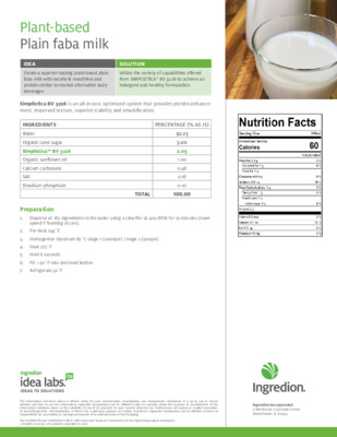 Formulation: Plant-based plain faba milk