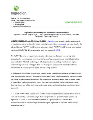 Press release: Ingredion broadens organic ingredient solutions lineup