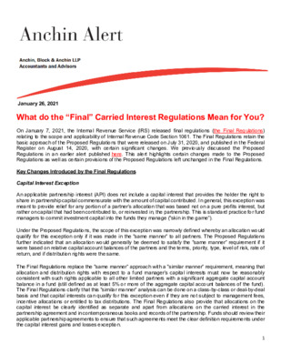 """Anchin Alert Whitepaper - What do the """"Final"""" Carried Interest Regulations Mean for You?"""